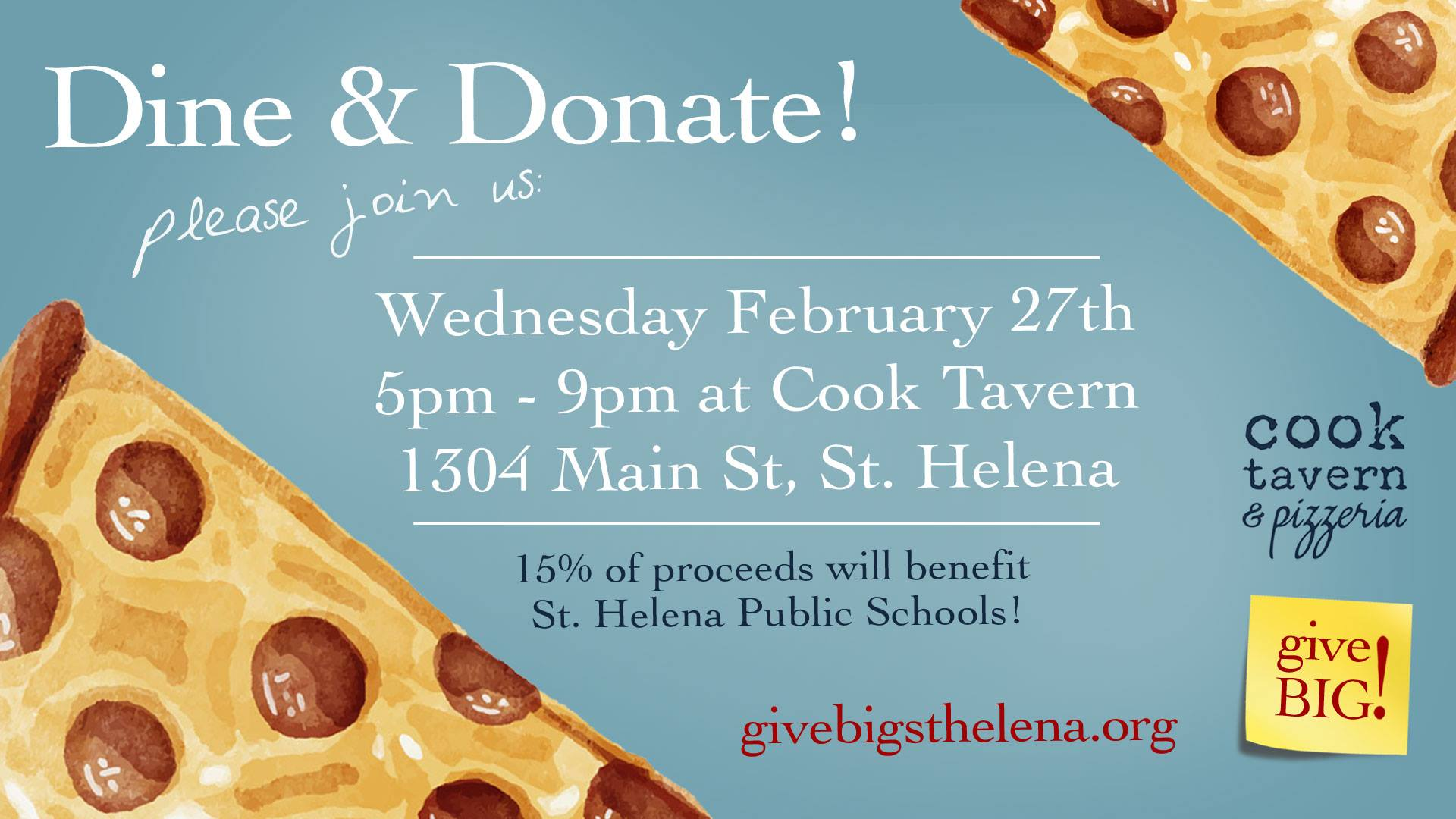 Dine & Donate at Cook Tavern!