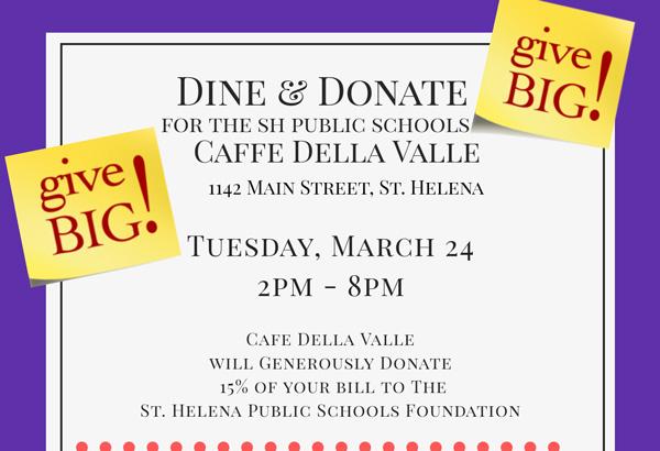 Dine & Donate at Caffe Della Valle