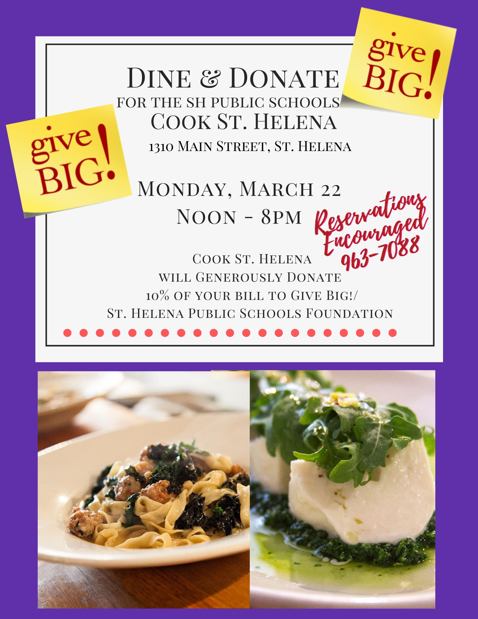 Dine & Donate at Cook – March 22, Noon-8pm