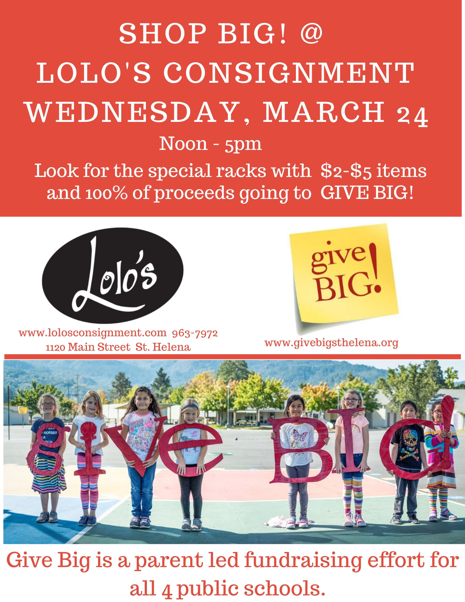 Shop Big! at Lolo's Consignment, March 24